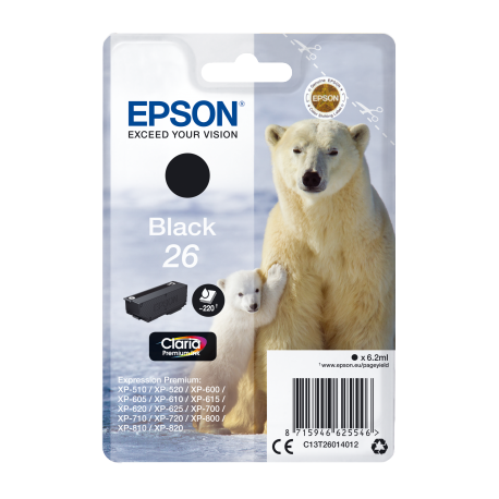 Ink Epson 26 Black C13T26014012 220pgs